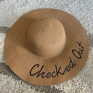 """""""Checked Out"""" Beach Hat - Never Worn"""